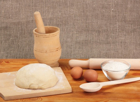 Bread cooking  Ingredients and dough Stock Photo - 19602213