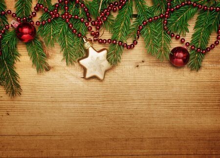 Christmas card  Decoration on wooden background photo