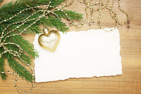 Christmas background  Blank Old Paper Sheet with decorations Stock Photo