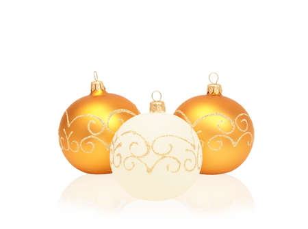 Three Christmas balls isolated on white background