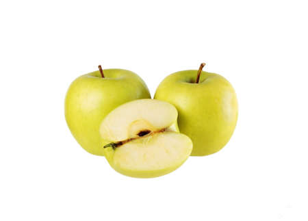 Two apples and half  isolated on on white Stock Photo