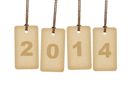 New Year 2014 concept  Brown tags lettering  2014  isolated on white