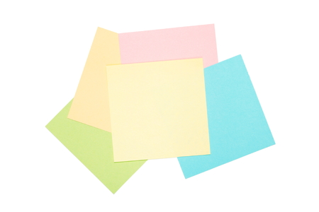 colorful postit blank notes isolated on white