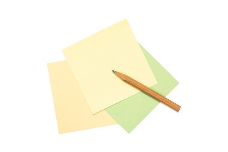 colorful postit blank notes and pencil isolated on white