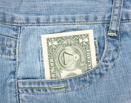 One dollar in the jeans pocket