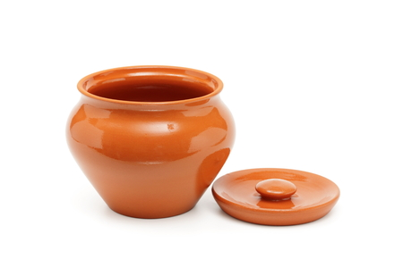 open clay pots for cooking isolated on white Stock Photo