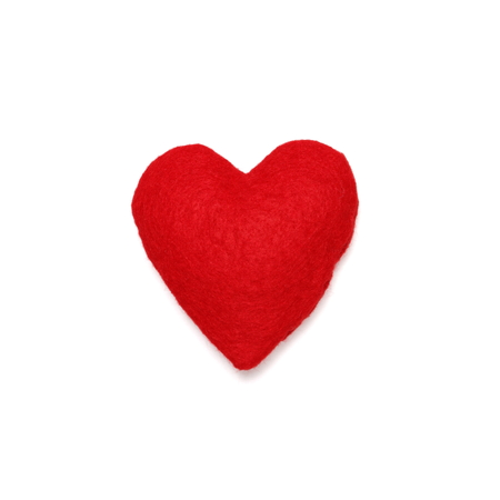 Red felt heart isolated on white photo