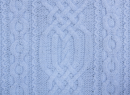 Knit woolen texture  Blue fabric