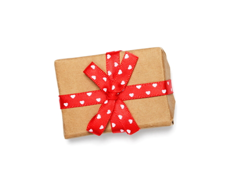 Wrapped gift box with ribbon bow, isolated on white Stock Photo