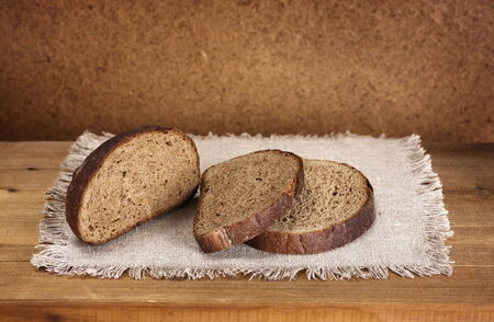 sliced rye bread on napkin  Stock Photo