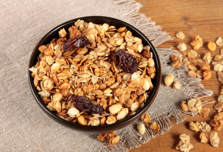 Healthy and tasty breakfast. Bowl of muesli on the table
