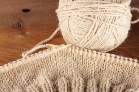 snugly: bamboo knitting needles in process of knitting
