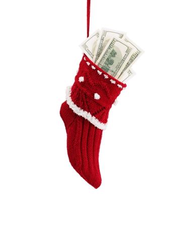 plain stitch: Handmade knitting Christmas sock isolated on white Stock Photo
