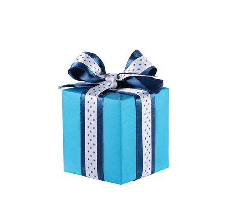 Wrapped blue gift box with ribbon bow isolated on white