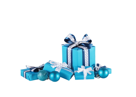 wrapped blue gift boxes and Christmas balls isolated on white
