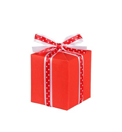 wrapped red gift box with ribbon bow isolated on white
