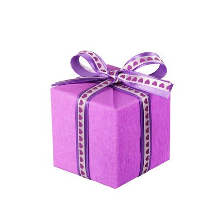 wrapped violet gift box with ribbon bow isolated on white