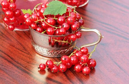 Fresh red currant on table Stock Photo