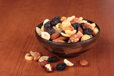 Healthy and tasty snack. Nuts and dried fruits
