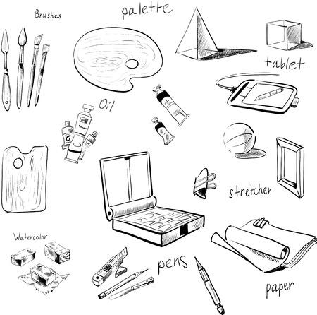 art materials: sketch vector set of art materials