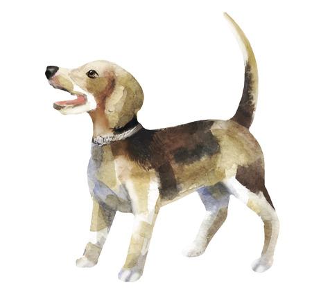 水彩画犬  イラスト・ベクター素材