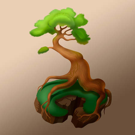 mythical: illustration of mythical tree with strong roots