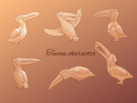 tucan: set of toucans: sitting, flying tropical  birds. Sketch, hand drawn illustration of cartoon characters Illustration