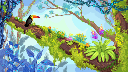 Jungle forest. Illustration of toucan sitting on the tree. Vector hand-drawn rainforest, tropical background Vettoriali