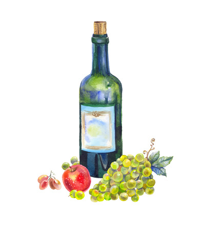 Watercolor still life with fruit and wine