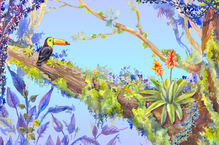 Jungle with bird toucan. Vector llustration with flower and toucan in exotic tropical forest Illustration