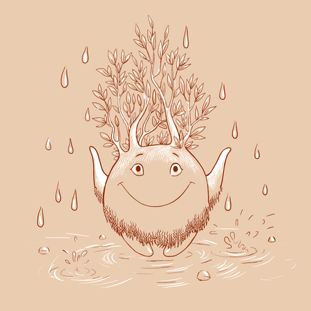living being: Living being. Cartoon illustration with forest spirit on a rainy day. Mythical forest creature catches rain drops. ?ute character standing in a puddle and enjoys the rain. Illustration