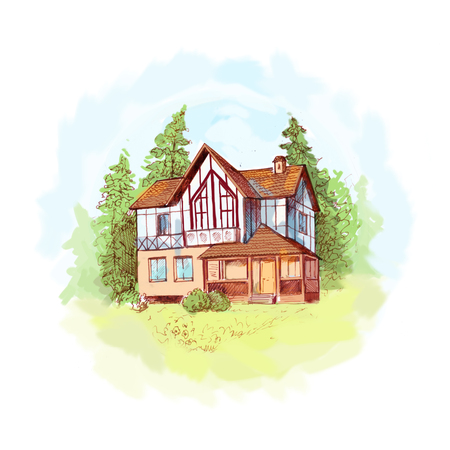 house with style: Hand drawn sketch of two-storey house with lawn and trees. Illustration of house in alpine style. Brown ink drawing, light colors like watercolor style. Suit for postcard, background for site about out-of-town living, etc.