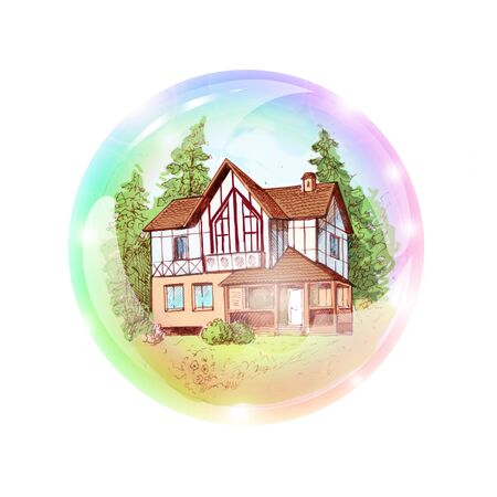 vacation home: A two-storey house in a bubble. The dream of buying or building a house. Suitable for advertising or mortgage loan. To make the visualization board, wishes map. A dream of a cottage. Vacation home. Illustration drawn by hand.
