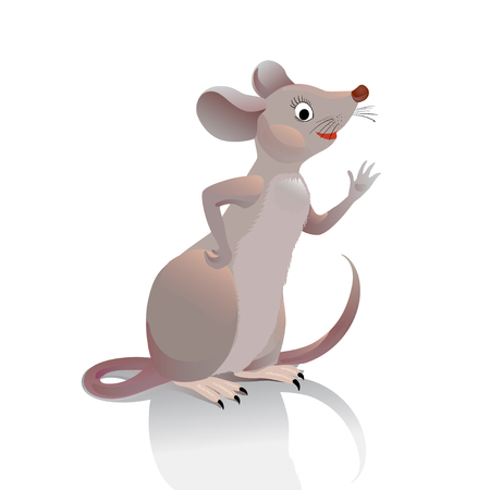 Mouse waves her hand you. Little gray-brown vole is in profile and greets the viewer. Character mouse on a white background. Illustration for a childrens site or game cards.