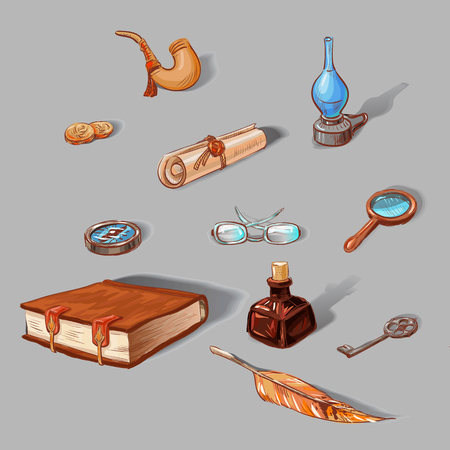 ancient books: set of vintage objects: book, clock, kerosene lamp, compass, ancient coins, glasses, pen, ink, tube, wrench, scroll. Hand-drawn icons, colored sketches