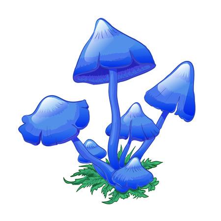 Blue Mushrooms (Entoloma hochstetteri), bunch of mushrooms on grass. Hand drwan illustration. Suit for childrens goods, as icon for game.