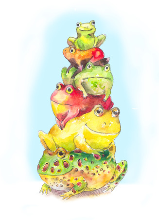 bunch: Bunch of toads. Funny cids illustration with bunch of toads. Hand drawn watercolor bunch of frogs.