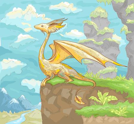 fantastic: Fantastic dragon. Fantastic landscape with dragon. Fantastic hand drawn illustration of dragon. Fantastic drawing with dragon for wallpaper, poster, background, illustration for children book, card.