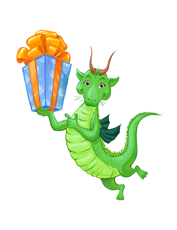 green dragon: A cute little green dragon with a gift. Cartoon sketch of a dragon, is suitable for childrens postcard Happy Birthday or for  gift at a baby store.