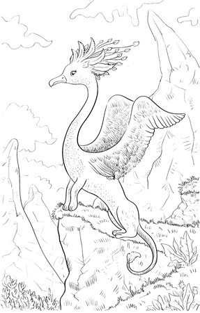 mountain lions: Fantastic animal with head of a bird, body of lion. Coloring page with fantastic animal and fantasy landscape. Original coloring for kids. Illustration