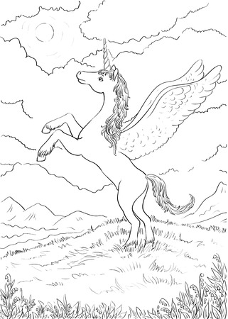 hind: Hand drawn magic Unicorn for children. Coloring page with high details. Unicorn with wings standing on hind legs. Night landscape with the moon. Illustration