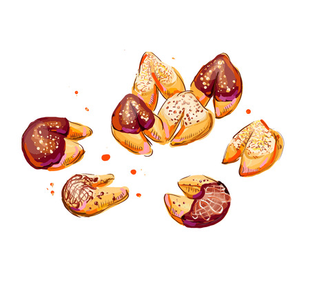 fortune cookie: Fortune cookies illustration. Hand drawn illustration of fortune cookies. Illustration
