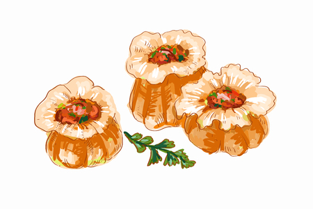 cantonese: Chinese dumplings illustration hand drawn illustration