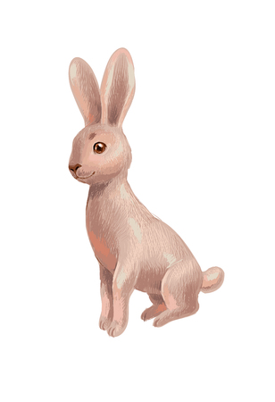 Hand-drawn sketch of brown rabbit isolated on white, sitting and looking to the viewer. Cute character suit for children book, game card, as icon of bunny. illustration in crayons style. Illustration