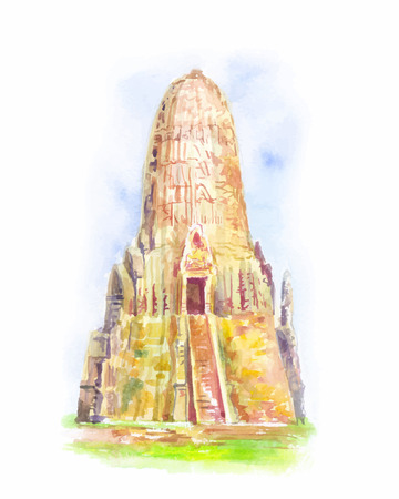 Temple in Thailand. Ayutthaya. The Buddhist stupas. Watercolor hand-drawn vector illustration.
