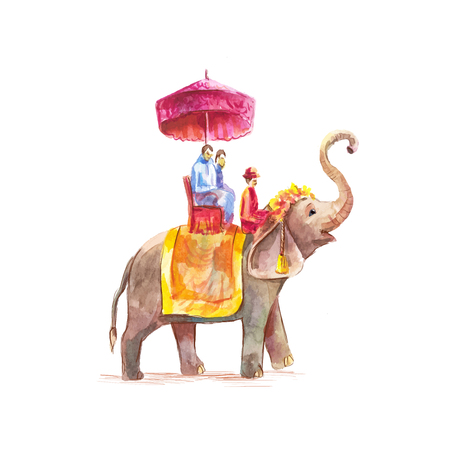 Watercolor vector illustration of tourists riding on an Asian elephant with mahout isolated on white