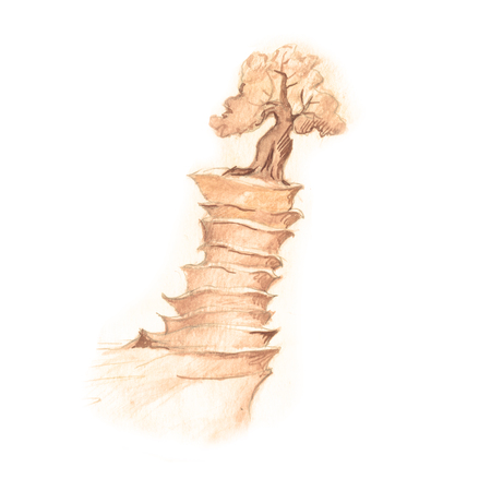 pensil: Fantastic mountain, drawing with fantasy tree in sepia pensil isolated on white background.