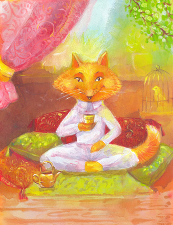 Orange fox drinking tea. The picture for childrens room, book, other products. Acrylic painting on silk. Suitable for prints on clothing, t-shirt, panels greeting card, invitation to dinner or lunch. Stock Photo