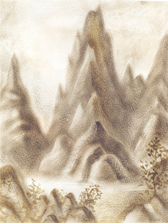 Fantasy landscape with mountains in sepia colour. Hand-drawn illustration, oil sketch on paper