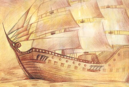 brig: Ship in the sea, drawn with colored pencils on paper in old style. Stock Photo